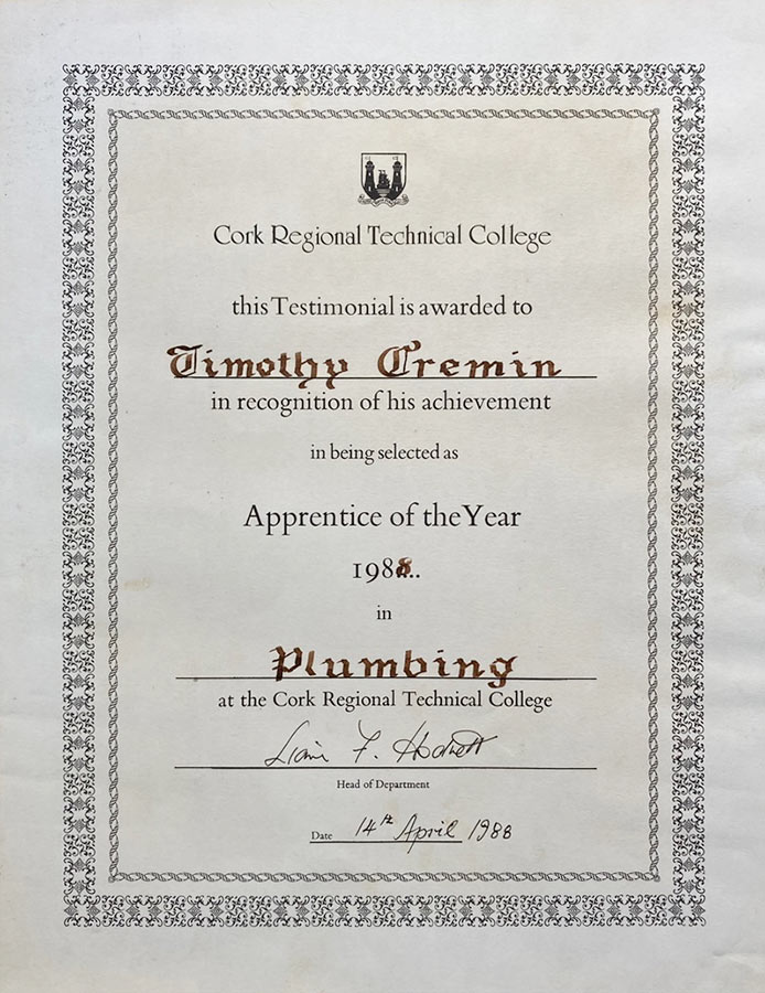 Oxyvent apprentice of the year certificate