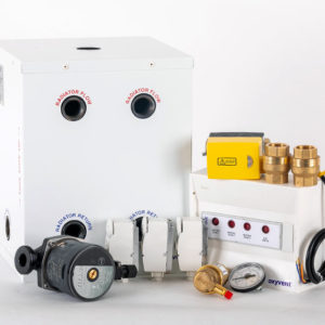 Solid fuel with Oil or gas boiler, one heating zone with hot water tank