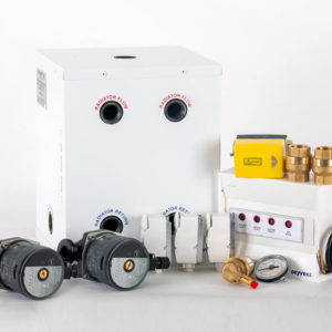 Solid fuel with Oil or gas boiler, two heating zone with hot water tank