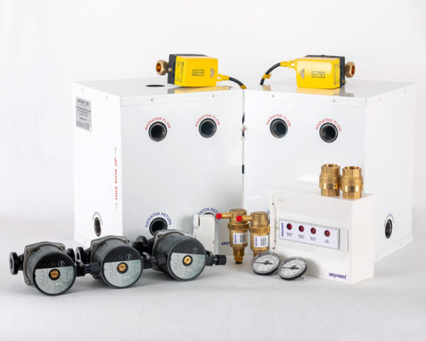 two underfloor heating zones with hot water tank