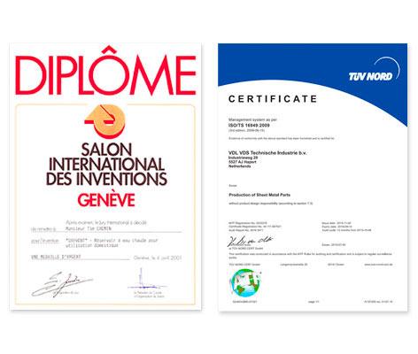 Oxyvent certificates